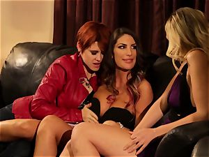 August Ames and Lily Cade strap on sofa intercourse