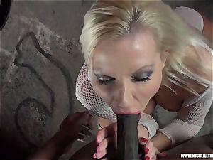 filthy blondie honey deep throats tit jacks smashes ginormous ebony knob