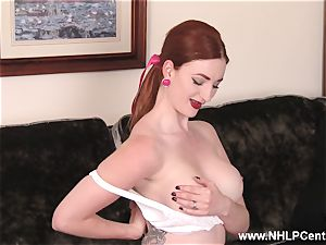 big-titted redhead drains in lingerie vintage nylons