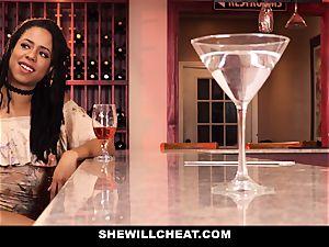 SheWillCheat - hotwife wife romps big black cock in douche