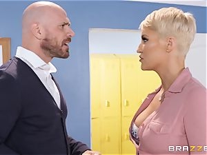 Ryan Keely rammed sack of babymakers deep by strung up Johnny Sins