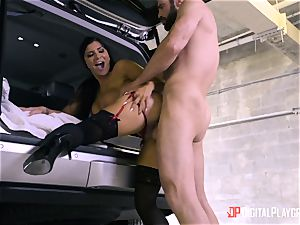 Romi Rain plowed in the back of the car