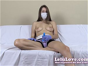 sans bra chick with medical mask and strapon