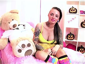 fantastic Christy plays with her cunt on Halloween