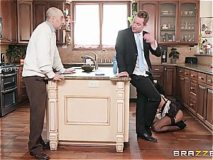 super-hot ebony maid almost get caught