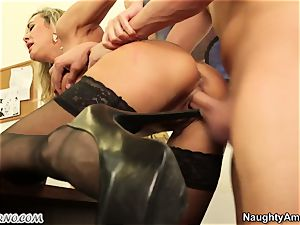 young guy ravage his big-titted adult teacher during a lesson