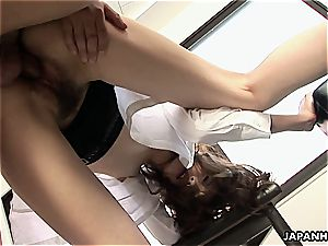 asian stunner straddles his fuck-stick and gives him a rail