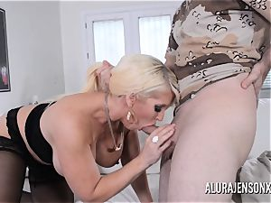 chesty ash-blonde Alura Jenson luvs a stud in uniform