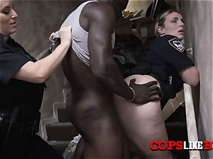 cougar cops milk out bike riders humungous dark-hued man sausage at personal spot
