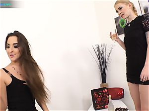 excellent bombshell Amirah Adara and tatted nymph Misha Cross plays with their fuck sticks