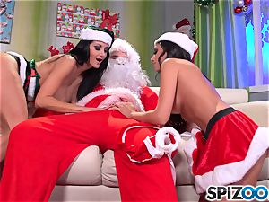 Santas tiny helpers Ava Addams and Trinity St Clair christmas exclusive