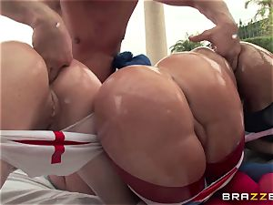 assfuck hump with trio wild immense bum sluts Krissy Lynn, Nikki Delano and Rose Monroe