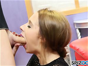 spunk guzzler Lola Hunter gags on large man meat