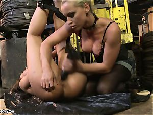 Andy chocolate-colored and Kathia Nobili butt dildoing rock hard