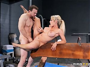 Capri Cavanni completes her exercise with some large prick