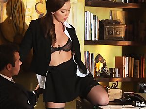 Maddy OReilly is poked over the desk by the boss