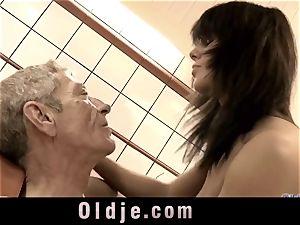 older dude gobbling wooly dirty cunny of Melanie