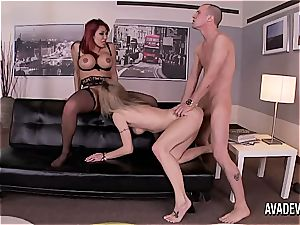 Natasha Starr and Ava Devine sharing a trunk in the office