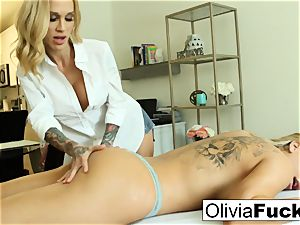 Olivia Austin gets penetrated by Sarah Jessie