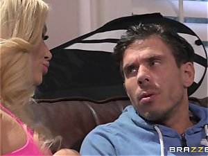 Summer Brielle pounds her firm tennis coach