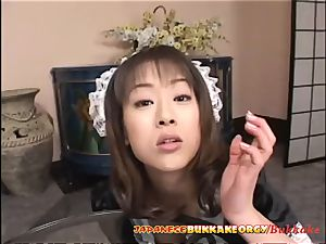 japanese Maid uses her gullet for cleaning
