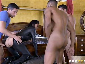 raunchy in rubber Romi Rain gets porked by trio red-hot penises