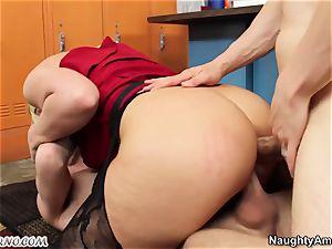 slutty tutor gets buttfucked by 2 schoolgirls