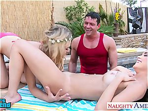 2 femmes at the pool nasty for a fine plumb and facial cumshot