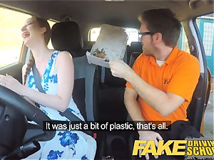 fake Driving college Nerdy ginger-haired teenager schoolgirl