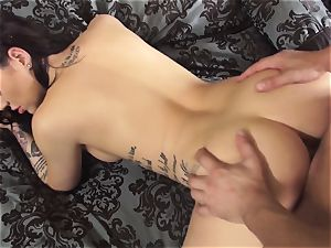 tatted Karmen Karma ravages an elderly stud