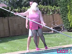 grannie pounds the Pool Cleaner indeed hard