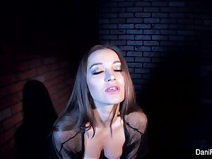 smallish sweetheart Dani Daniels thumbs her tight vagina