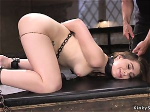 dark-haired super-bitch gets 2 lollipops in restrain bondage