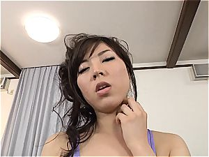big-titted Jap gets her stocking and honeypot torn