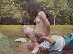 Romantic Picnic turns in wondrous plow for grandpa and nubile