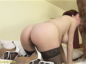 extreme knocked up nubile drilled by elder guy
