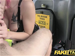 fake taxi Fetish queen in dark-hued leather rectal creampie