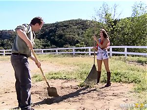 August Ames gets her baps creamed outdoors