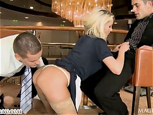inebriated Head with his friend banged barmaid
