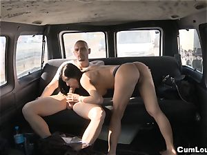 Pretty stunner satan gets romped stiff in a Van