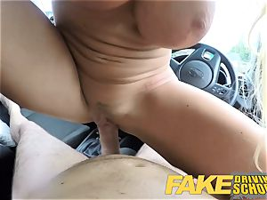 faux Driving school luxurious towheaded gets deep creampie