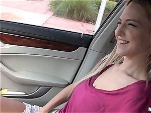 slender platinum-blonde Mila Evans gets picked up to poke